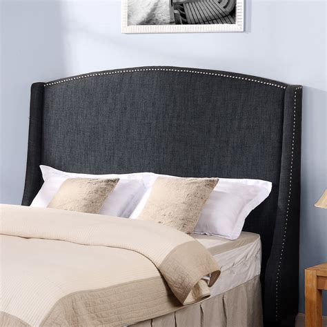 dorel asia wingback headboard with nailheads grey