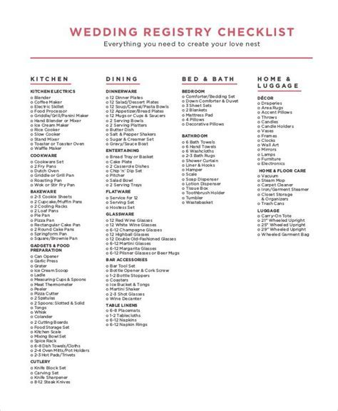 wedding registry checklist pdf   Check List in 2019