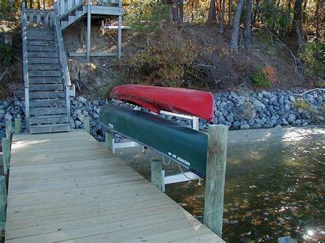 boat dock kayak rack kayak canoe rack on dock facing in garden yard