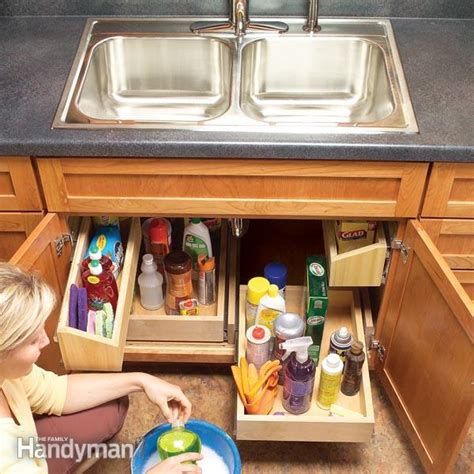 kitchen cabinets organization storage how to build kitchen sink storage trays the family handyman