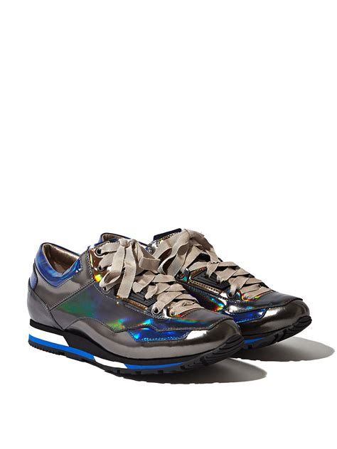 lanvin womens holographic leather sneakers in gray lyst