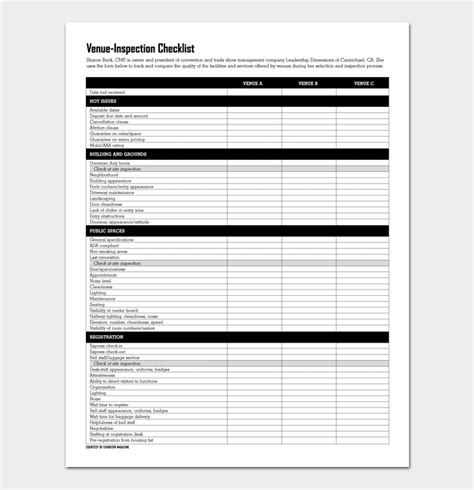 Venue Checklist Template 5 Site Inspection Checklists Site Inspection Form Template