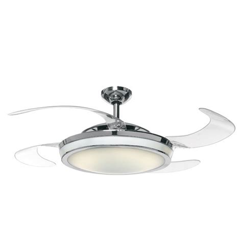 ceiling fan with clear retractable blades and light for