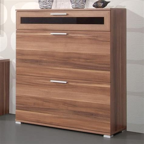 shoe storage cabinet diano wooden shoe storage cabinet in walnut with 3