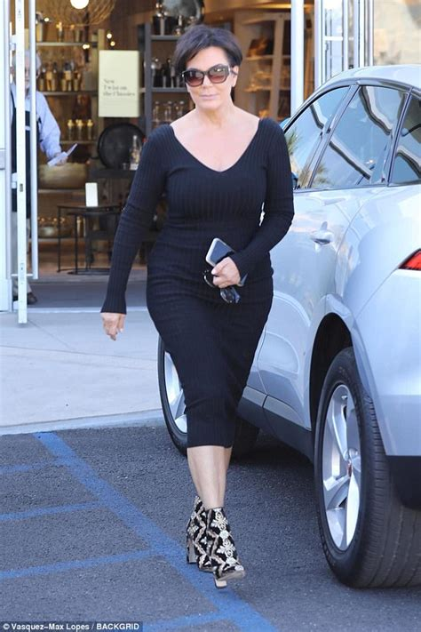 does kris jenner have a long neck for short hair kris jenner steps out in wide neck black bodycon dress