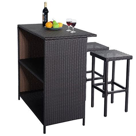 Rattan Bar Table And Stools by New 3pcs Rattan Wicker Bar Set Patio Outdoor Table 2 Stools Furniture