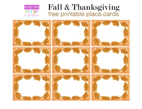 free printable thanksgiving place cards template 10 minute decorating thanksgiving place cards in my own
