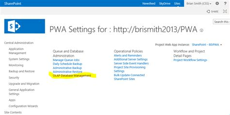 project server 2013 pwa settings project server 2013 requirements to build an olap cube