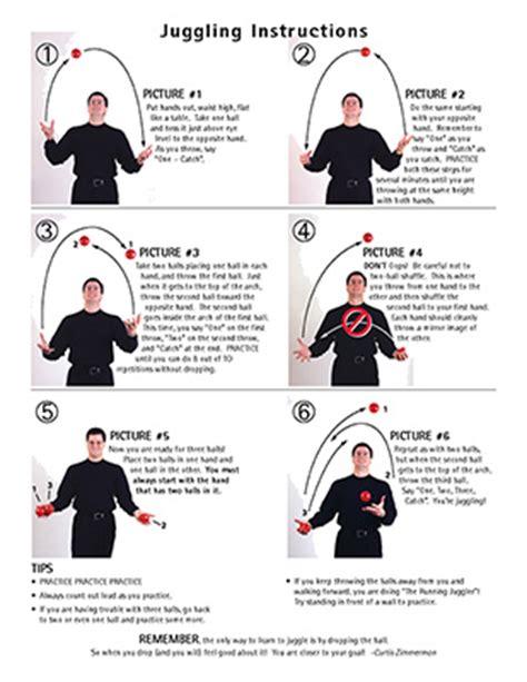 Printable Juggling Instructions | juggling instructions curtis zimmerman