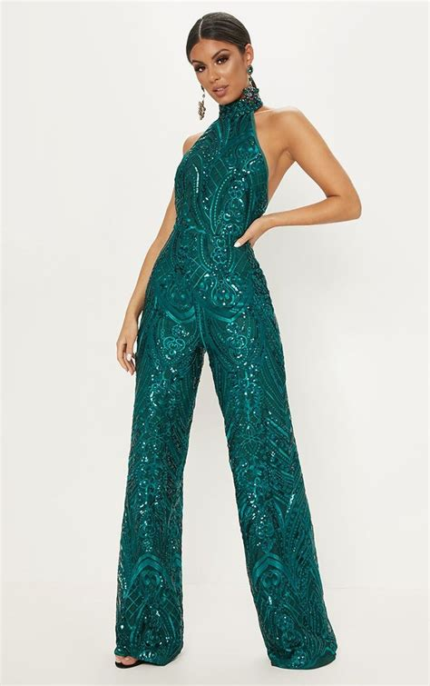 green sequin high neck jumpsuit green sequin dress prom