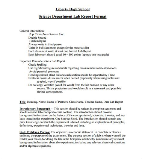 lab report template 7 lab report template free sles exles format