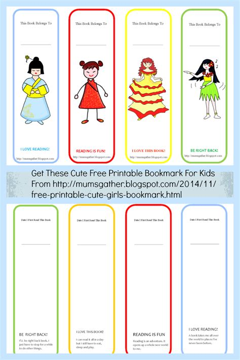 printable bookmarks for kids free printable cute girls bookmark parenting times