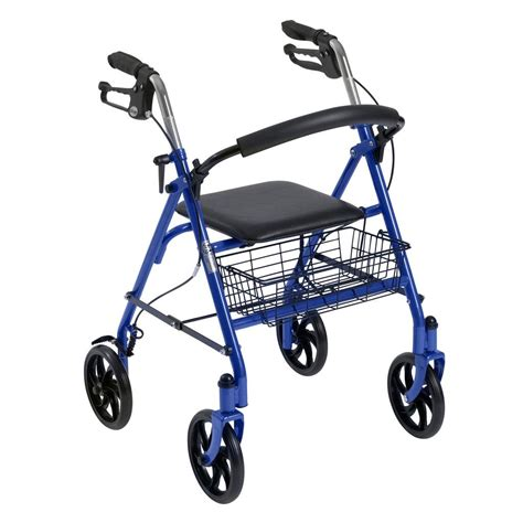 drive four wheel rollator walker blue