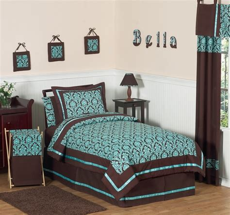turquoise and brown bella children s teen bedding 3 pc