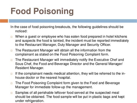 Complaint Letter On Food Poisoning Hotel Security3