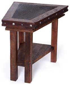 wooden accent tables reclaimed wood wedge side table side tables and end tables other metro by buffalo collection