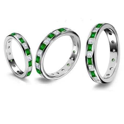 9ct white gold 3mm emerald eternity ring