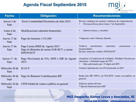 agenda fiscal 2016 agenda de obligaciones fiscales septiembre 2015