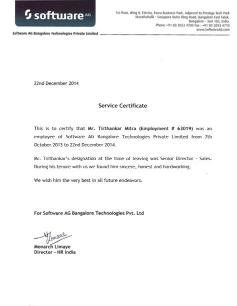 certification letter for service service certificate and reference letter of tirthankar mitra