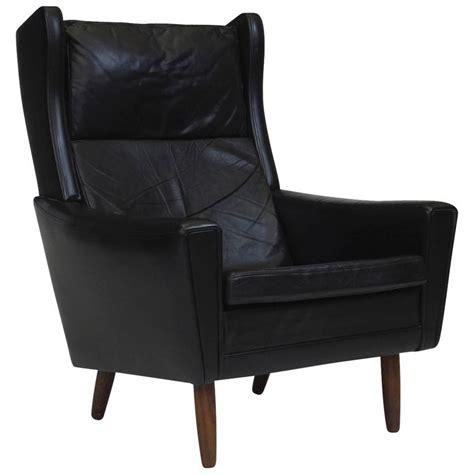 mid century leather wingback chair for sale at pamono mid century danish black leather wingback chair for sale