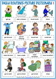 daily routines esl printable worksheets exercises