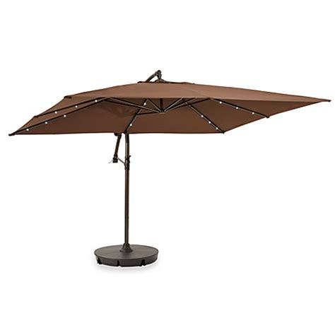 Rectangular Patio Umbrella With Solar Lights 13 6 Solar Lighted Rectangular Cantilever Umbrella Chocolate Bed Bath Beyond