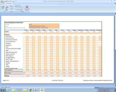 construction expense report template freelance contractor income and expenses template by pmmba