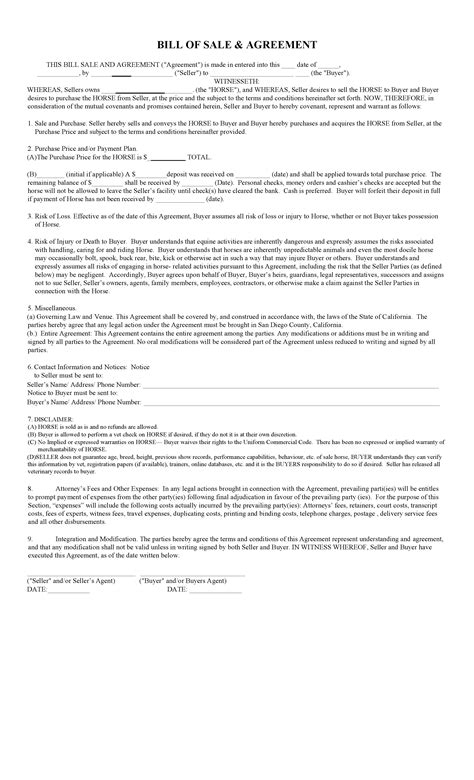 free california horse bill of sale agreement template