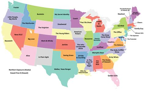 map of usa showing each state us map showing the tv series best representing each state