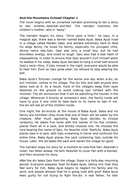 And the Mountains Echoed Chapter 1-2-3 summary - Docsity