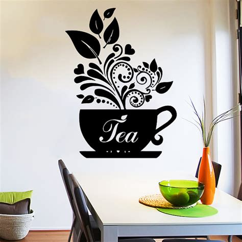 wall decor stickers shopping wall decal tea cup of tea decals cafe dining vinyl stickers