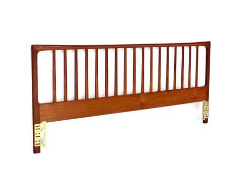 danish mid century modern teak king headboard bed for sale