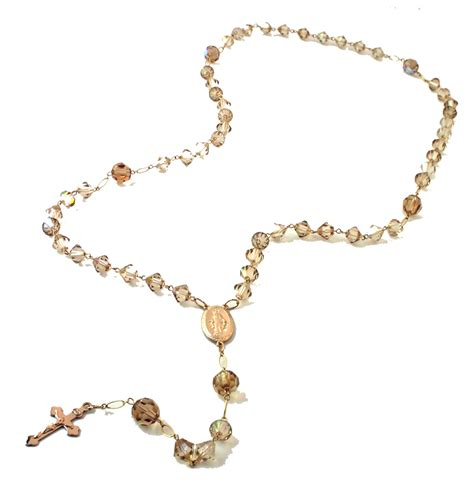 a rosary gabrielle golden swarovski rosary