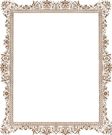 Decorative clip art Victorian border, antique brown [image 1347x1623 pixels]