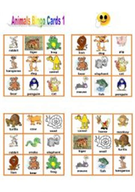printable animal bingo for preschoolers english worksheets animal bingo cards 1 3
