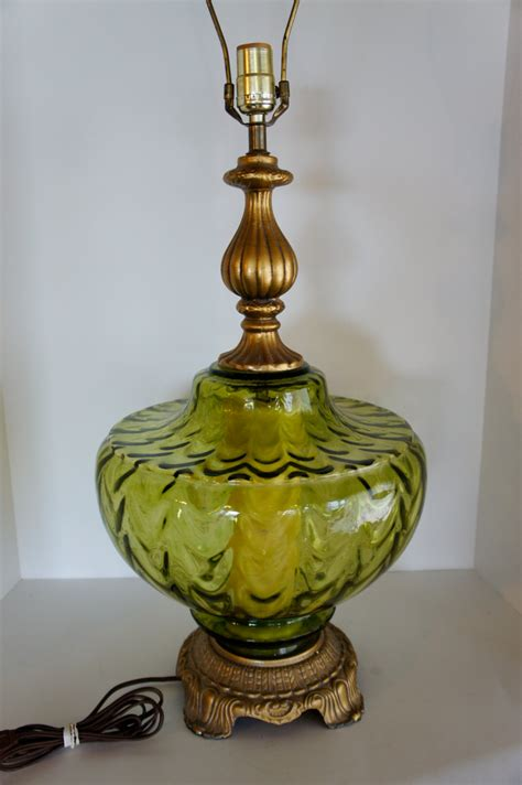 vintage green glass table l vintage table l green glass accent nightlight unusual