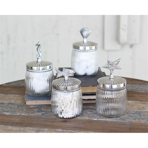 glass canister set for kitchen coastal glass canister