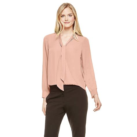 Vince Camuto Satin Bow Neck Blouse by Vince Camuto Pink Wrap Front Tie Neck Blouse In Lyst