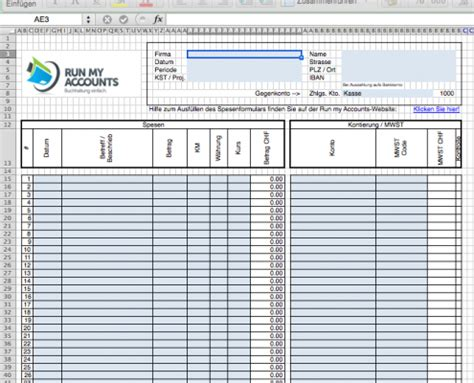 Vorlage Spesenabrechnung Schweiz Spesenformular Spesen Mit Dem Gratis Excel Abrechnen