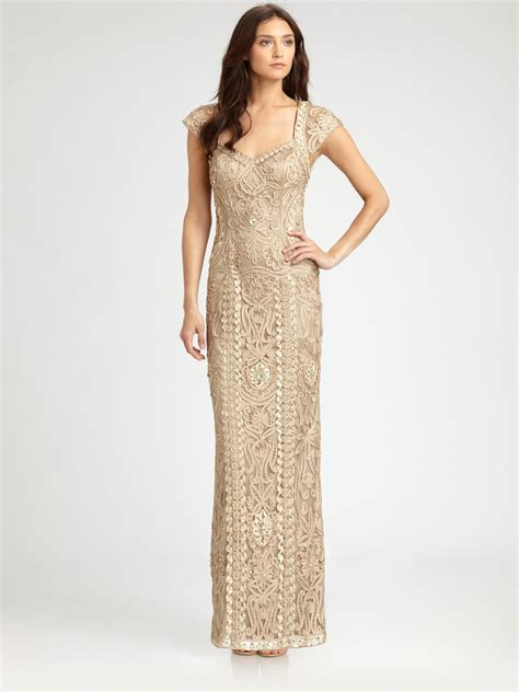 Embroidered Gown lyst sue wong embroidered gown in metallic