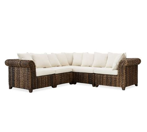 Seagrass Sectional Sofa Seagrass Roll Arm 5 Sectional Pottery Barn