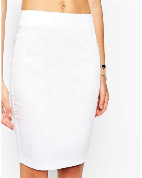 asos high waisted pencil skirt in white lyst