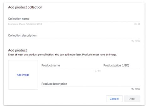 how to add product collections to your my business