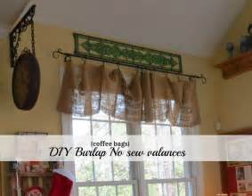 Diy no sew burlap kitchen valances made from coffee bags pictures to