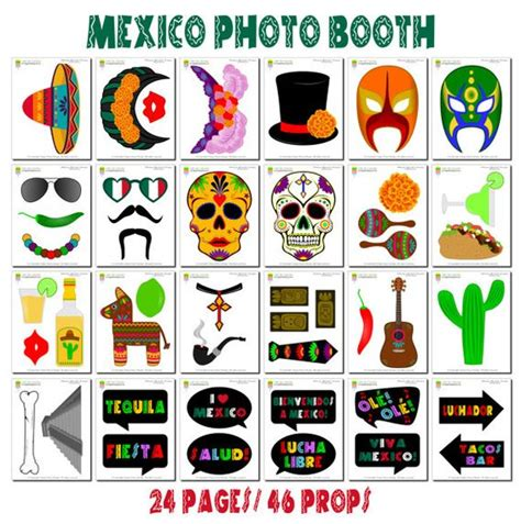 free printable photo booth props mexican mexico booth props 47 pieces 36 props 10 speech bubbles 1
