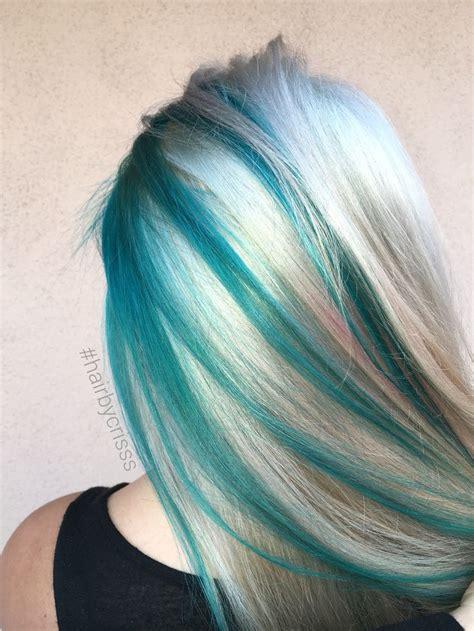 hairstyles with teal highlights teal turquoise blonde platinum mermaid hair olaplex