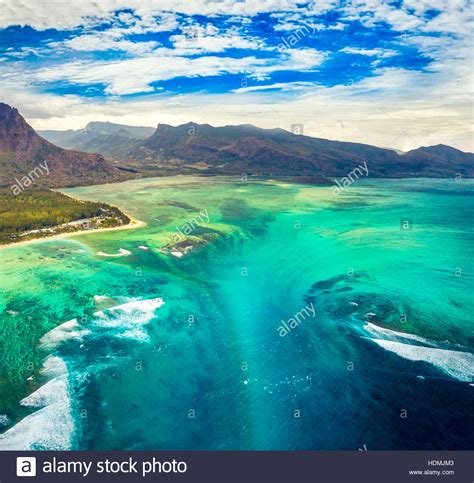 aerial view   underwater waterfall amazing mauritius
