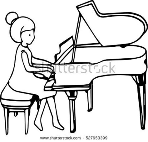 coloring page girl playing piano piano and hands coloring pages