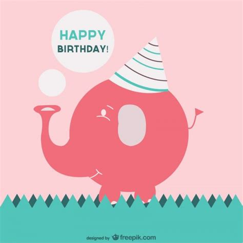 birthday pattern pink vector happy birthday card with a pink elephant vector free