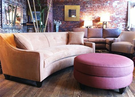 curved sectional sofas for small spaces with pink ottoman